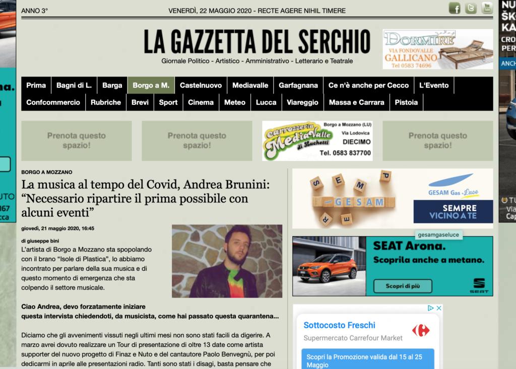 La Gazzetta del Serchio su Andrea Brunini